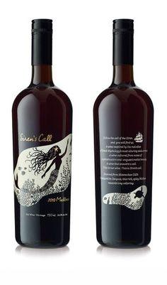 Beatiful wine label design. Hand drawn mermaid illustration.