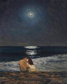 art wallpaper Moonlight Over The Ocean Painting by Marianna Foster Art Inspo, Inspiration Art, Art Amour, Art Sur Toile, Wow Art, Art Et Illustration, Love Painting, Moonlight Painting, Couple Painting