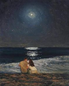 art wallpaper Moonlight Over The Ocean Painting by Marianna Foster Aesthetic Painting, Aesthetic Art, Korean Aesthetic, Arte Inspo, Art Sur Toile, Wow Art, Impressionism Art, Love Painting, Moonlight Painting