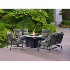 Beaumont 7 Piece Fire Dining Set Landscaping Outdoor
