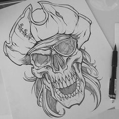 """a278b9c9d5f7 Will scan and start the vector process next week. May do it live or video  the process.  pirate  skull  pencil…"""""""