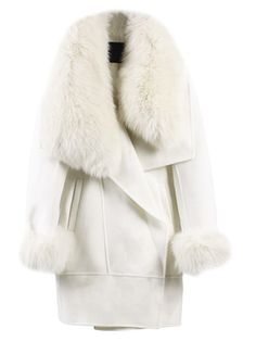 WithChic White Longline Wool Coat with Faux Fox Fur Collar and Cuffs