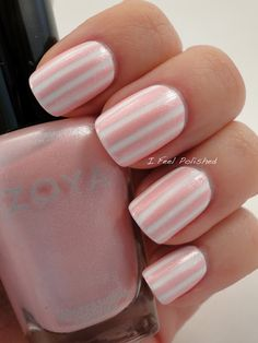 Zoya Purity, then used striping tape, polish Zoya GeiGei over the tape and pulled it off