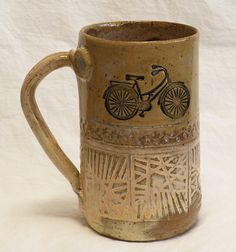 When mom needed stuff from the corner store. You`d hop on your bike & off You`d roar! Stoneware bicycle mug 16oz by desertNOVA on Etsy, $22.00