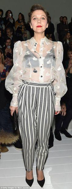 Wonder in white: Maggie Gyllenhaal wore a sheer white top at the gala. White Sheer Top, Maggie Gyllenhaal, Black Swan, Lady Gaga, New York Fashion, Celebrity Crush, Kendall Jenner, Marc Jacobs, Crushes