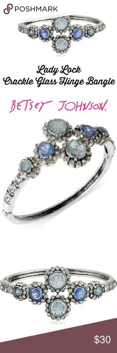 """Betsey Johnson Lady Lock Crackle Glass Bangle Beautiful Bangle Bracelet from Betsey's Lady Lock collection.  The stones are 'crackled glass'- blue with silver tone.  100% authenticity guaranteed- I have receipt and it is available to buyer.  Beware-there are so many dupes on here and elsewhere!! But when you see this you won't question the authenticity!  Gorgeous!   New with tags, will ship in a gift box, robin's egg blue with ivory ribbon!  🚭 home and pet free zone.  2.5"""" diameter bracelet…"""