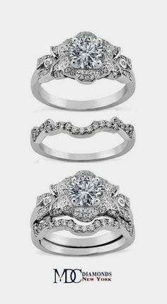 Diamond Bows & Flower Engagement Ring & Matching Wedding Band in White Gold