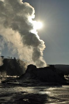Castle Geyser in the morning, Yellowstone National Park; photo by Bruce Gourley