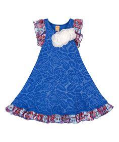 Royal Blue Floral & Paisley Swing Dress - Toddler & Girls