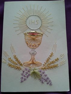 Embroidery Cards, Embroidery Stitches, Hand Embroidery, Biscuit Quilt, Bobbin Lace Patterns, Altar Cloth, Church Banners, Pin Art, First Holy Communion