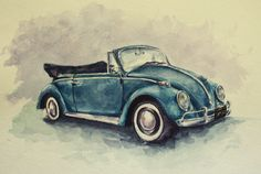 1966 Volkswagen Beetle --a car commission I did using watercolor paints #classiccars #1960s #retro #classic #vwbeetle #bug #art #watercolor #painting #volkswagen