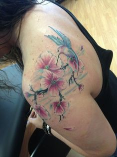Flowers n Hummingbird Tattoo Design For Girls