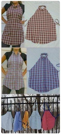 DIY Transform Shirt in einer modischen Schürze - diy kleidung - Diy & Crafts Sewing Aprons, Sewing Clothes, Diy Clothes, Dress Sewing, Sewing Hacks, Sewing Tutorials, Sewing Diy, Dress Tutorials, Easy Peasy Shirt