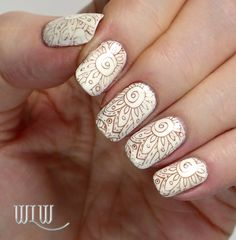 """OPI """"Alpine Snow"""" stamped with OPI """"I Knead Sourdough"""" and BM S-104, Seche Vite top coat."""