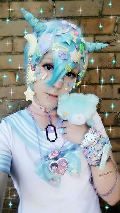 "rainbow-neko: ""Pastel devil boy Instagram: @aoi__neko https://www.instagram.com/aoi__neko/?hl=en """