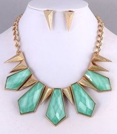 Gold Mint Spike Statement Necklace and Earring Set - very post-apocalyptic princess?