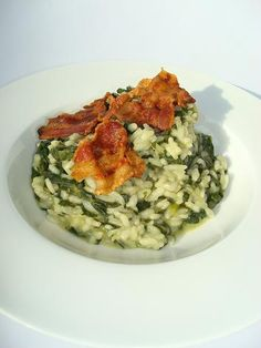Risotto with spinach and crispy bacon | Recipes La Cucina Imperfect