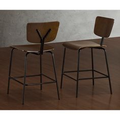 Reed Medium Walnut/ Charcoal Counter Stools (set Of 2)
