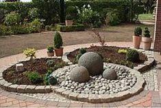 garden deco with Stone Flower Beds, Landscape Design, Garden Design, Concrete Crafts, Garden Ornaments, Diy Garden Decor, Interior Exterior, Front Yard Landscaping, Garden Planters