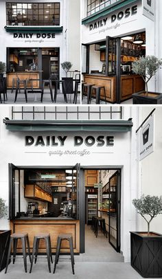 Gorgeous Coffee Shop in Greece! Andreas Petropoulos has recently completed the design of Daily Dose, a small takeaway coffee bar in the city of Kalamata, Greece, that features a white, black and wood interior. Cafe Shop Design, Coffee Shop Interior Design, Coffee Design, Coffee Cafe Interior, Bakery Shop Interior, Bakery Design, Small Coffee Shop, Rustic Coffee Shop, Coffee Shop Bar