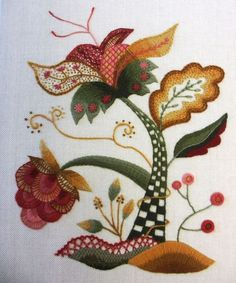 Crewel (wool thread on linen) Embroidery.
