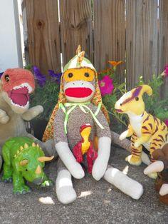Samson the Dinosaur Superhero Sock Monkey by busybonniebee on Etsy, $35.00