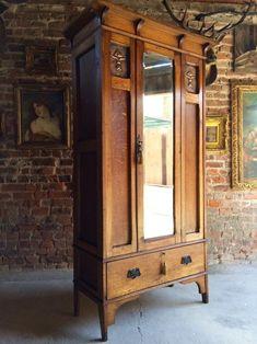 ANTIQUE SINGLE WARDROBE ARTS CRAFTS COPPER EDWARDIAN ARMOIRE MIRROR Antique Wardrobe, Antique Armoire, Mirrored Wardrobe, Antique Furniture, Wood Furniture, Furniture Design, Single Wardrobe, Wardrobe Furniture, Edwardian House