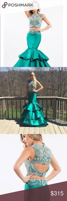 Rachel Allan two piece mermaid gown Two piece emerald green prom gown. Only altered for length. Size 0. Worn once. rachel allan Dresses Prom