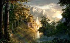 lothlorien - Google Search Fantasy Forest, Fantasy Castle, Fantasy World, Fantasy Art, Fantasy Landscape, Landscape Art, Vampires, Forest Wallpaper, Tree Wallpaper