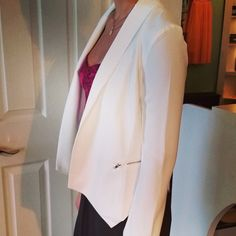 #white #blazer #work #play #dressup #dressdown #layers #bustierjumpsuit #fuschia #bright #lapels #meow #soleil #froufroucouture