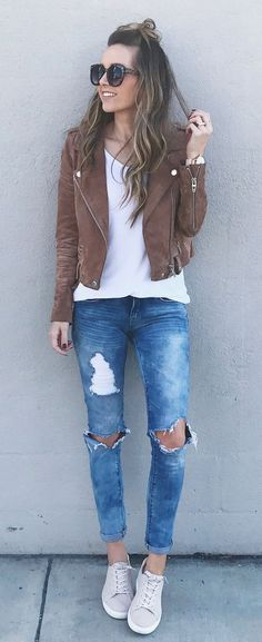 street style_brown biker jacket + white top + rips + sneakers