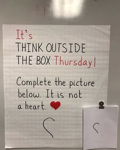 Teaching classroom - It's Think Outside the Box Thursday 🙌 Complete the picture One thing is for sure It's not a heart From a soup ladle to swans to Captain… Future Classroom, School Classroom, Classroom Activities, Classroom Organization, Classroom Management, Classroom Ideas, Fun Office Activities, Responsive Classroom, Social Emotional Learning