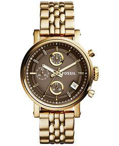 Fossil Women's Original Boyfriend Gold-Tone Stainless Steel Bracelet Watch 36mm ES3694 - Watches - Jewelry & Watches - Macy's