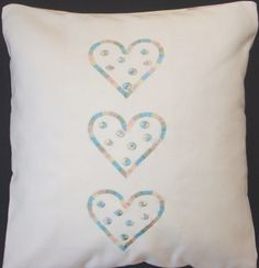 12x12 Embroidery Cushion Cover Rainbow Hearts or by LMDSimplyBe,
