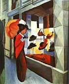 """August Macke, German painter who was a leader of Der Blaue Reiter (""""The Blue Rider""""), an influential group of Expressionist artists. Macke studied at the Düsseldorf Academy from August Macke, Wassily Kandinsky, Cavalier Bleu, Maurice De Vlaminck, Franz Marc, Expressionist Artists, Hat Shop, Oil Painting Reproductions, Les Oeuvres"""