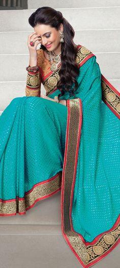 133732: #Saree #blue #Partywear #wedding #Womenswear #Gotapatti #border #OnlineShopping