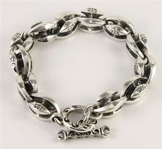 Bold Link Sterling Silver Men's Bracelet. Blossom Bold design stamp 925 hallmark every links, made of solid sterling silver perfect jewelry for men.