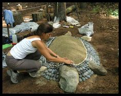 I have got to make one of these for the garden...Such a cool stone turtle planter!!