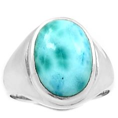 Larimar (Dominican Republic) 925 Sterling Silver Ring Jewelry s.7.5 LRIR23