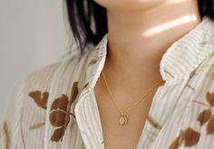 Tiny brass initial necklace | Edor