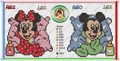 Mickey y Minnie baby Animated Disney Characters, Baby Cartoon Characters, Mickey Mouse Characters, Cross Stitch Boards, Cross Stitch Baby, Cross Stitch Patterns, Disney Stitch, Baby Mickey Mouse, Mickey Mouse And Friends