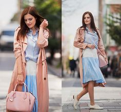 Front Row Shop Trench Coat, Sheinside Blouse, Front Row Shop Skirt, Rebecca Minkoff Bag, Braska White Brogues