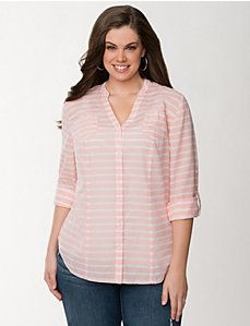 Striped rolled sleeve shirt
