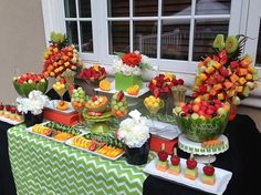 Birthday fruit display #fruitskewers #fruittree #fruitkebab #melonballs #birthday #40th #fruititarian #vegetarian #glutenfree #desserttable #healthyoptions #barbeque #fruitsalad #fruitplatter #yummytecture #weddingfruitdisplay