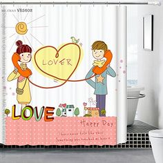 "Angelwings High-grade Couple Cotton Pattern Bathroom Accessories Shower Curtain 72"" X 72"""