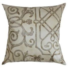 "Cotton pillow with a scrollwork motif and feather-down fill. Made in the USA.  Product: PillowConstruction Material: Cotton and down fillColor: IvoryFeatures:  Insert includedMade in the USA Dimensions: 18"" x 18""Cleaning and Care: Spot clean"
