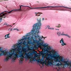 Peacock Princess Fairy with Butterflies Flying Pink Soft 4-Piece Bedding Sets/Duvet Cover