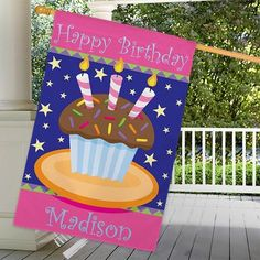 Our personalized house flags are created in durable polyester. Created with customization options, the flags are all-weather and colorful. House Flag Pole, House Flags, Happy Birthday Me, Birthday Cake, Personalized Garden Stones, One Sided, Birthday Candles, Cake Decorating, Birthdays