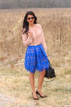 Love this full skirt!  Blue Skirt by Anthropologie, Rebecca Taylor blouse, Invanka Trump Leopard Heels, Alexander Wang bag  #Lovezahra