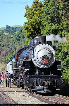 Southern Pacific 2472, a Baldwin 4-6-2 Pacific, sits idling at the Niles Canyon Railway's Sunol at the start of Day 2 of the Spring Steam Weekend.